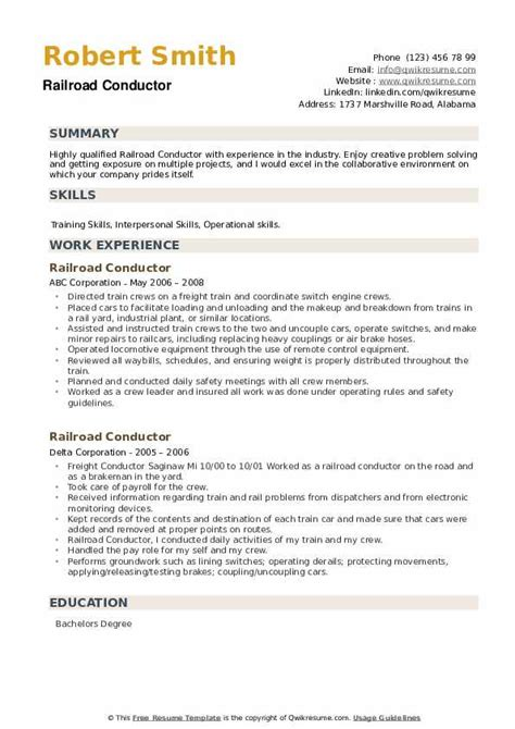How To Make A Resume For A Railroad Job Railroad Conductor Resume Samples Jobhero