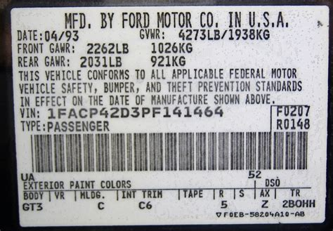 Taurus-Question How To Read 2000 Ford Taurus Vin Code.