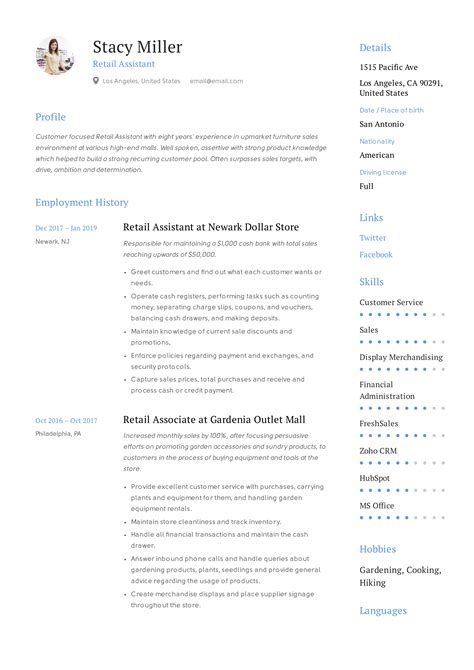 How To Write Retail Resume Retail Resume Examples And Tips Best Sample Resume Bsr