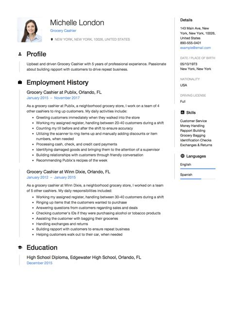 How To Write A Resume For A Job At A Supermarket Supermarket Cashier Resume Best Sample Resume