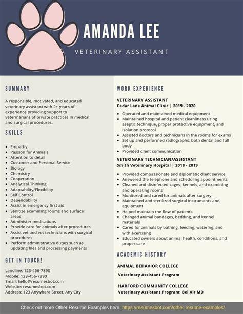 How To Write A Resume For Veterinary Veterinary Assistant Sample Resume Cvtips
