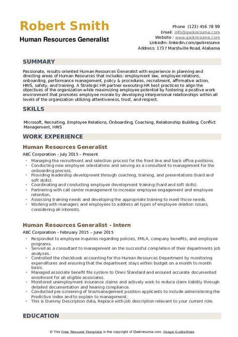 resources generalist resume sample. Resume Example. Resume CV Cover Letter