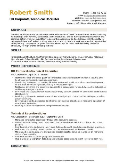hr recruiter resume technical recruiter resume example - Recruiter Resume Example