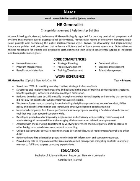 hr resume objective entry level hr generalist career objective and career summary
