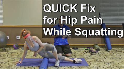 hurt hip flexor from squatting potty