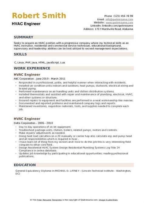 hvac design engineer resumes