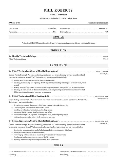 hvac resume job description hvac resume sample resume my career