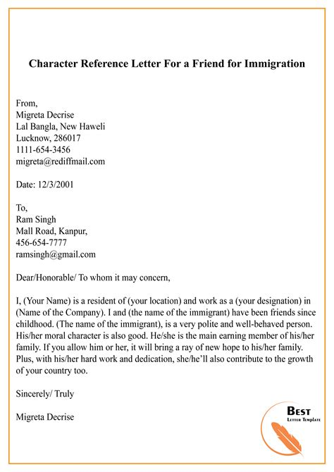 Immigration Character Reference Letter For Family Member | Resume
