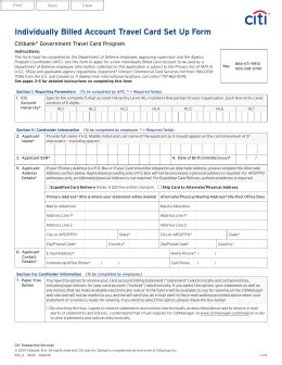 Credit Card Authorization Form Travel Agency Individually Billed Account Travel Card Set Up Form