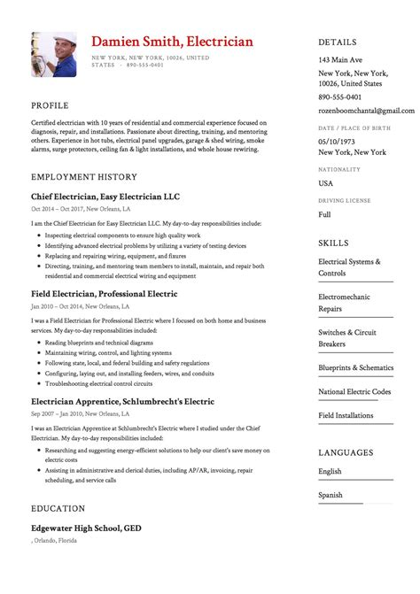 industrial electrician resume samples resume samples our collection of free resume examples electrician resume samples - Marine Electrician Resume