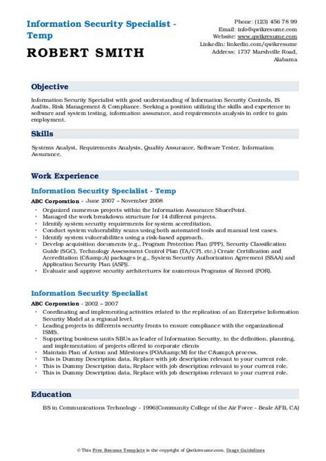 information security resume format information security resume dos and donts information - Information Security Resume