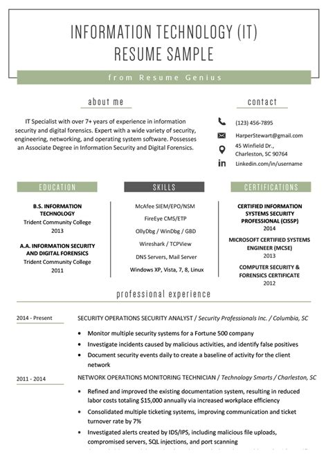 resume example information technology information technology resume examples