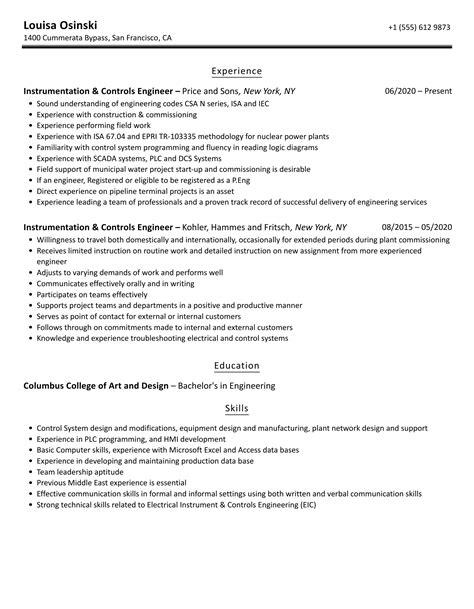 instrumentation design engineer resume sample instrumentation and control engineer resume samples jobhero - Instrumentation Design Engineer Sample Resume
