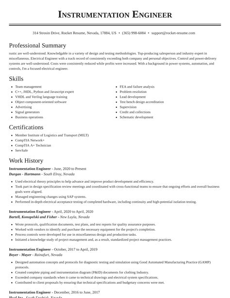 sample resume for boiler engineer instrumentation engineer resume sample - Boiler Engineer Sample Resume