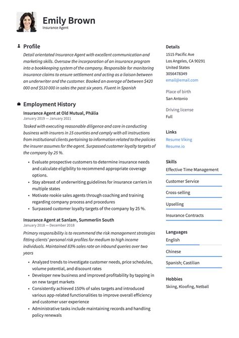 insurance agent cv sample insurance agent resume example best sample resume