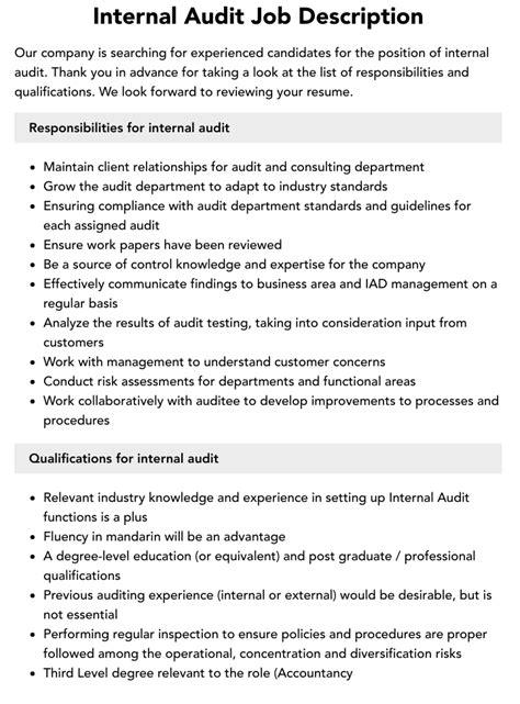 cpa resume auditor internal auditor job description auditorcrossing internal auditors job description
