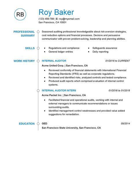 Internal Auditor Resume Objective Example Sox Auditor Resume Example Best Sample Resume
