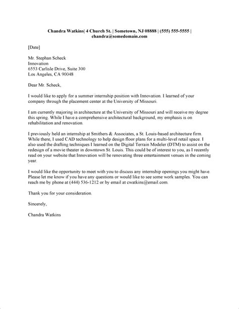 Example of cover letter for resume internship | The Most Affordable ...