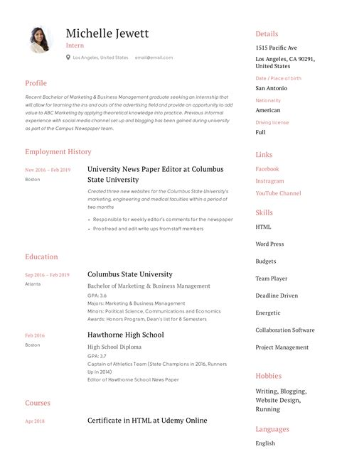 Internship Resume Templates For Microsoft Word Awesome Photos Of College Student Resume Templates