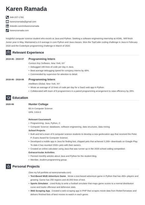 internship resume for computer science students internship for cse students computer science internships - Computer Science Student Resume