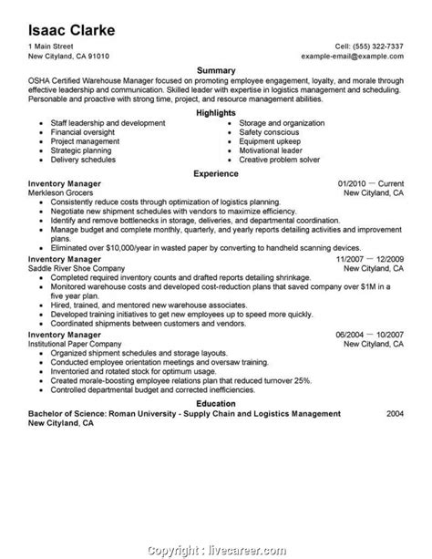 inventory resume retail store manager sample resume example - Inventory Resume Samples