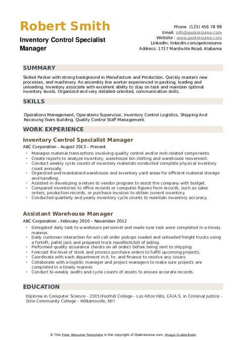 inventory specialist resume inventory control resume sample two operations resume