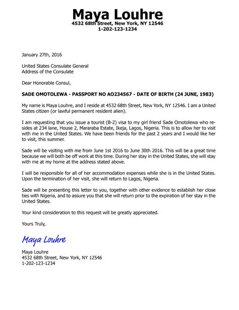 invitation letter template us visa usa visitor visa sample invitation letter to parents