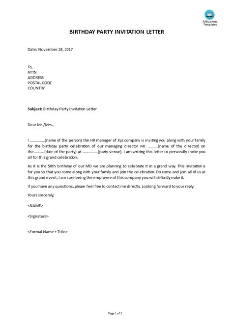 Invitation Letter For Party At Home. invitation letter to party  Europe tripsleep co