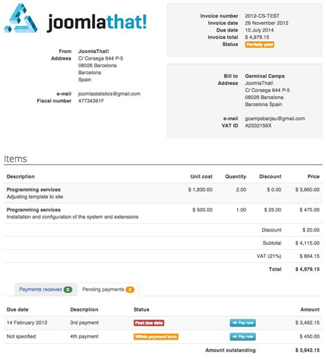 invoice template joomla