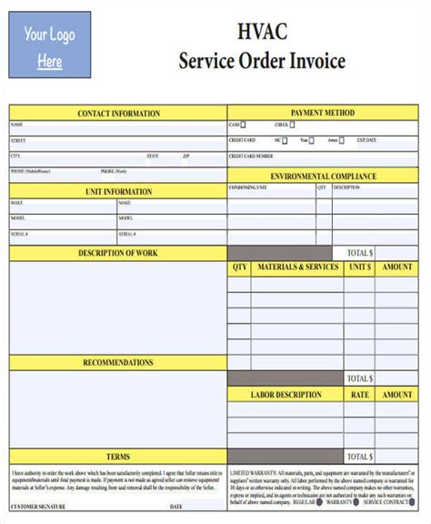 Invoice Template Excel Download Free Hvac Invoice Template 6 Free Word Excel Pdf Format