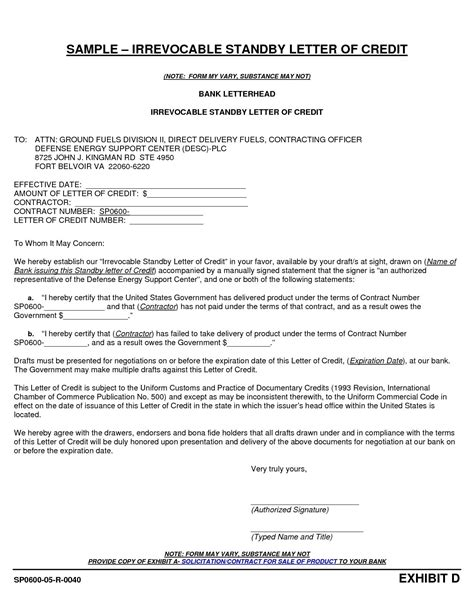 Irrevocable Standby Letter Of Credit Sample Standby Letter Of Credit Lc What Is Standby Letter Of