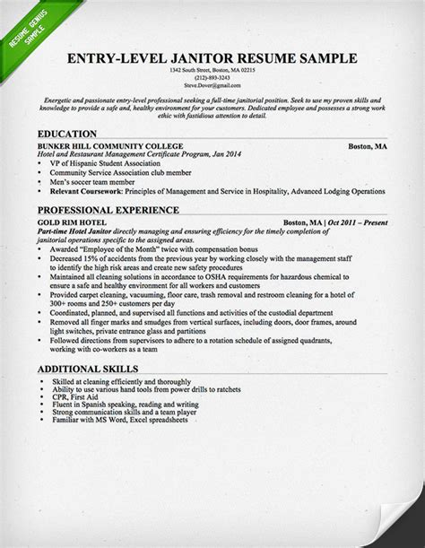 resume for janitor janitor resume sample one service resume