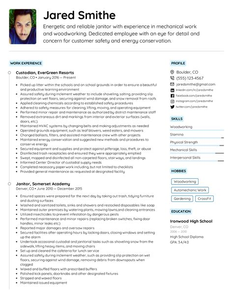 janitor resume janitor resume sample job interview career guide
