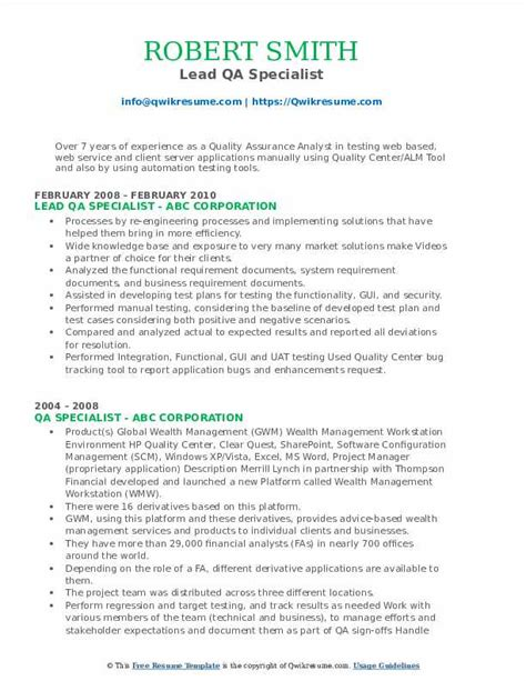 Java Resume Sample Qa Specialist Resume Sample
