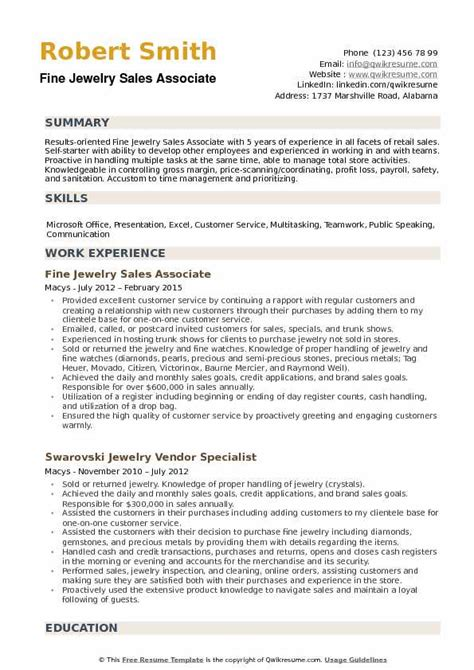 sales associate in retail resume examples jewelry sales associate resume example - Resume Examples For Sales Associates