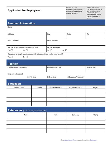 Job Application Forms Samples Free Job Application Forms Printable Online