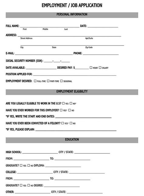 Job Application For Minors Note This Form Is Not An Employment Certificate