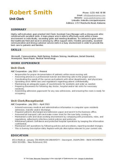 Emejing Unit Clerk Cover Letter Contemporary - Coloring 2018 ...