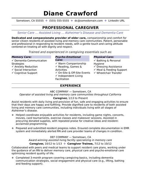 job description for caregiver resume caregiver resume sample caregiver resume example - Sample Caregiver Resume