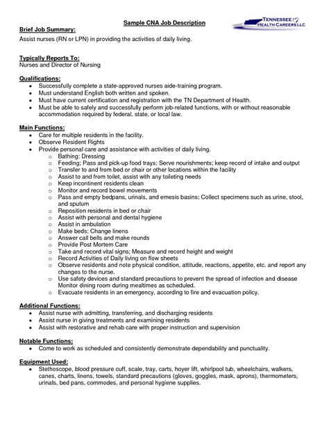 job description for cna cna job duties certified nursing assistant job description