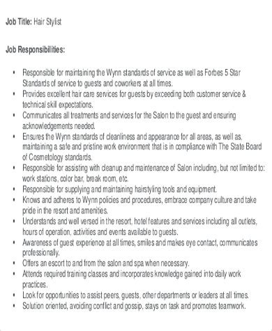 job description examples hairdresser hairdresser job description template livecareer