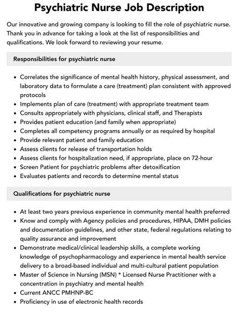 job description psychiatric nurse resume psychiatric nurse jobs careerbuilder - Psychiatric Nurse Resume