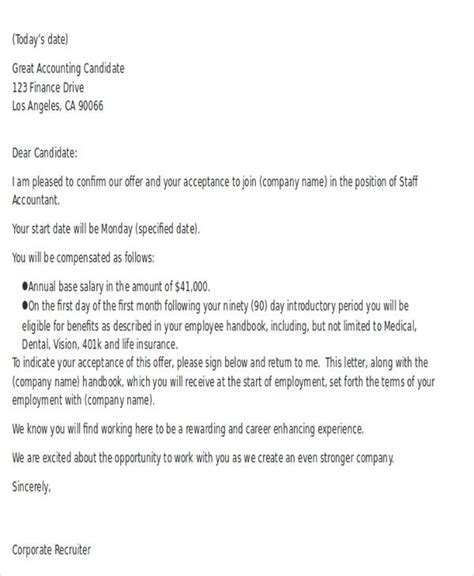 job offer letter format for accountant accountant offer letters career cover letter