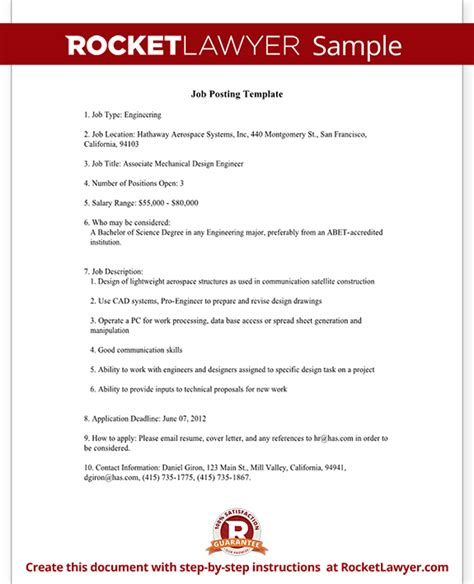 Job Reference Questions Template Job Posting Template With Sample Rocket Lawyer