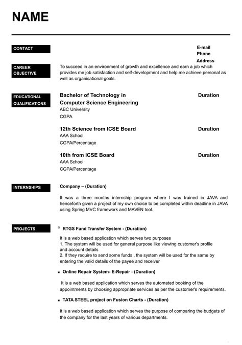 latest resume formats for freshers
