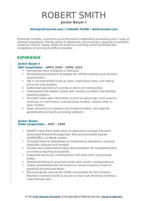 Junior Buyer Resume Sample Sales Resume Best Sample Resume