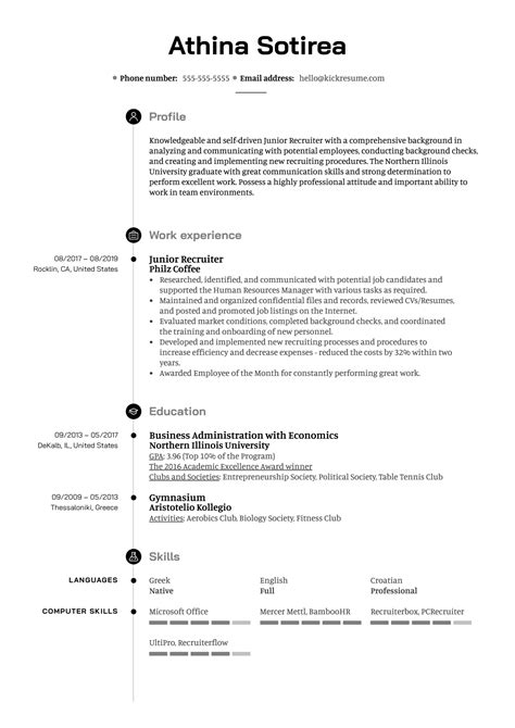 Resume Junior Recruiter Resume Examples junior recruiter resume examples cover letter chef o resumebaking