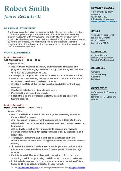 Resume Junior Recruiter Resume Examples junior recruiter resume examples cover letter samples free sample examples