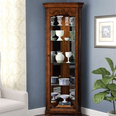Kenric Lighted Corner Curio Cabinet