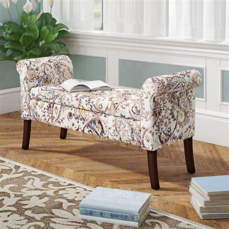 Keziah Floral Upholstered Storage Bench